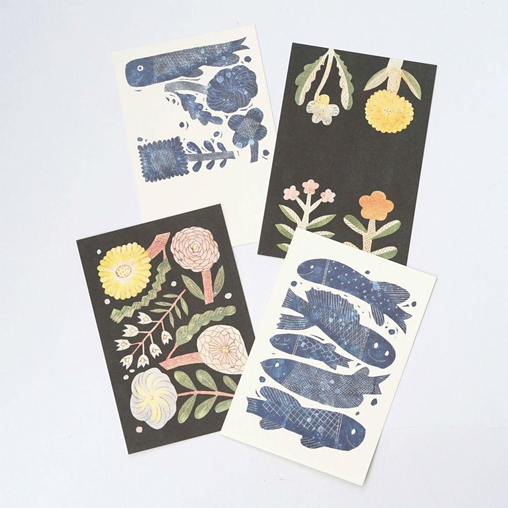 サムネイル:ZUAN & ZOKEI ポストカード 5 Blue Fishes
