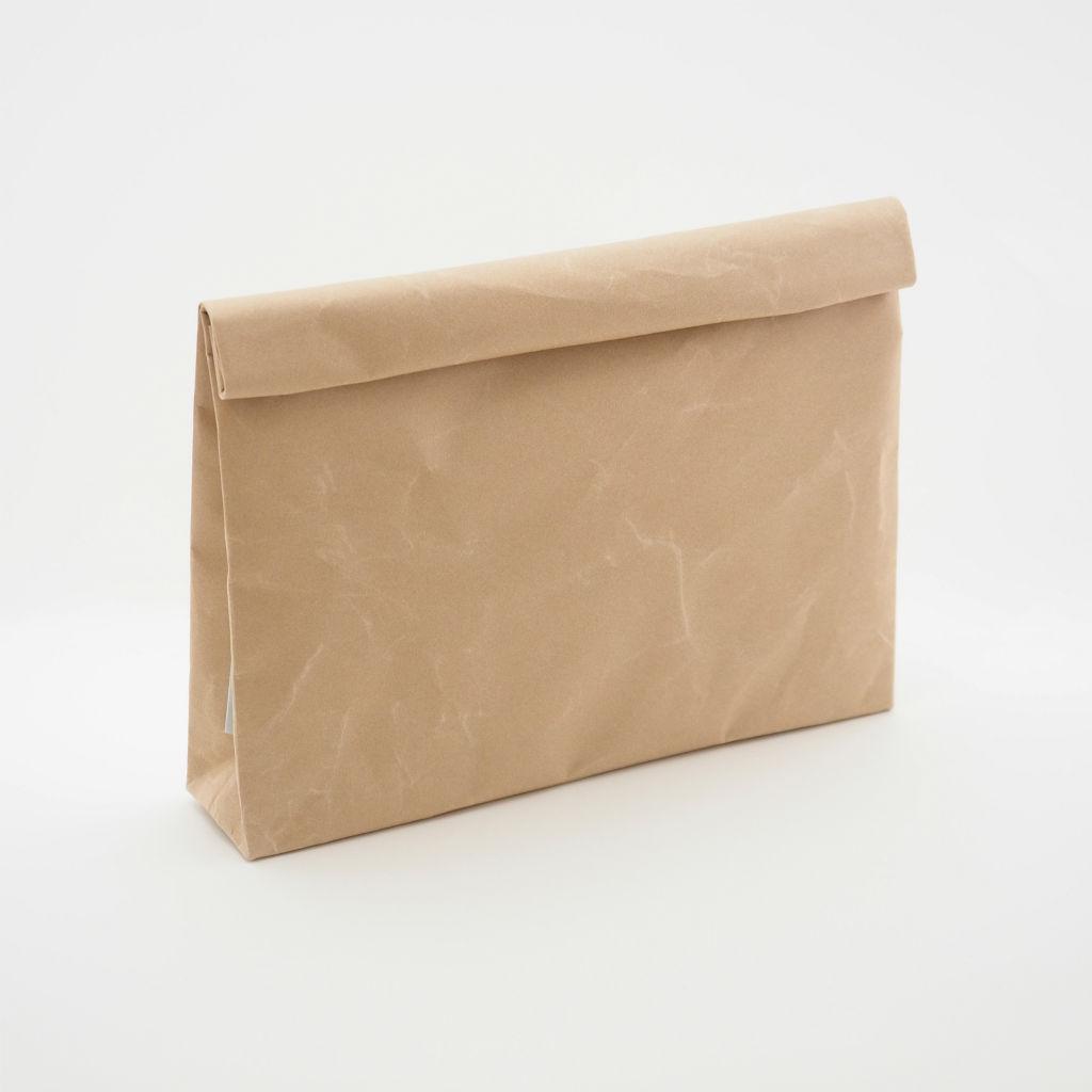 サムネイル:SIWA | 紙和 クラッチバッグ wide ブラウン