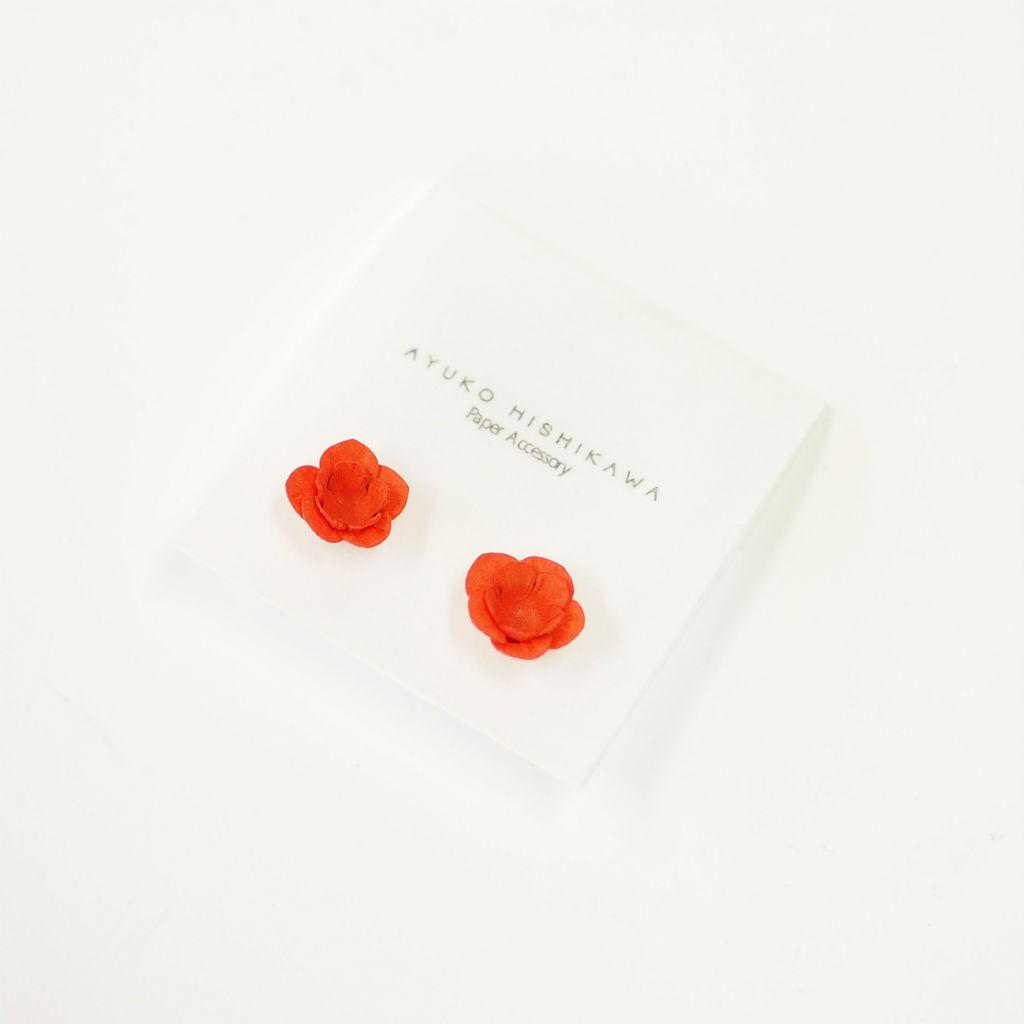 サムネイル:fuji ひと粒ペア イヤリング / ピアス オレンジ(ペア)AYUKO HISHIKAWA Paper Accessory(SIWA)