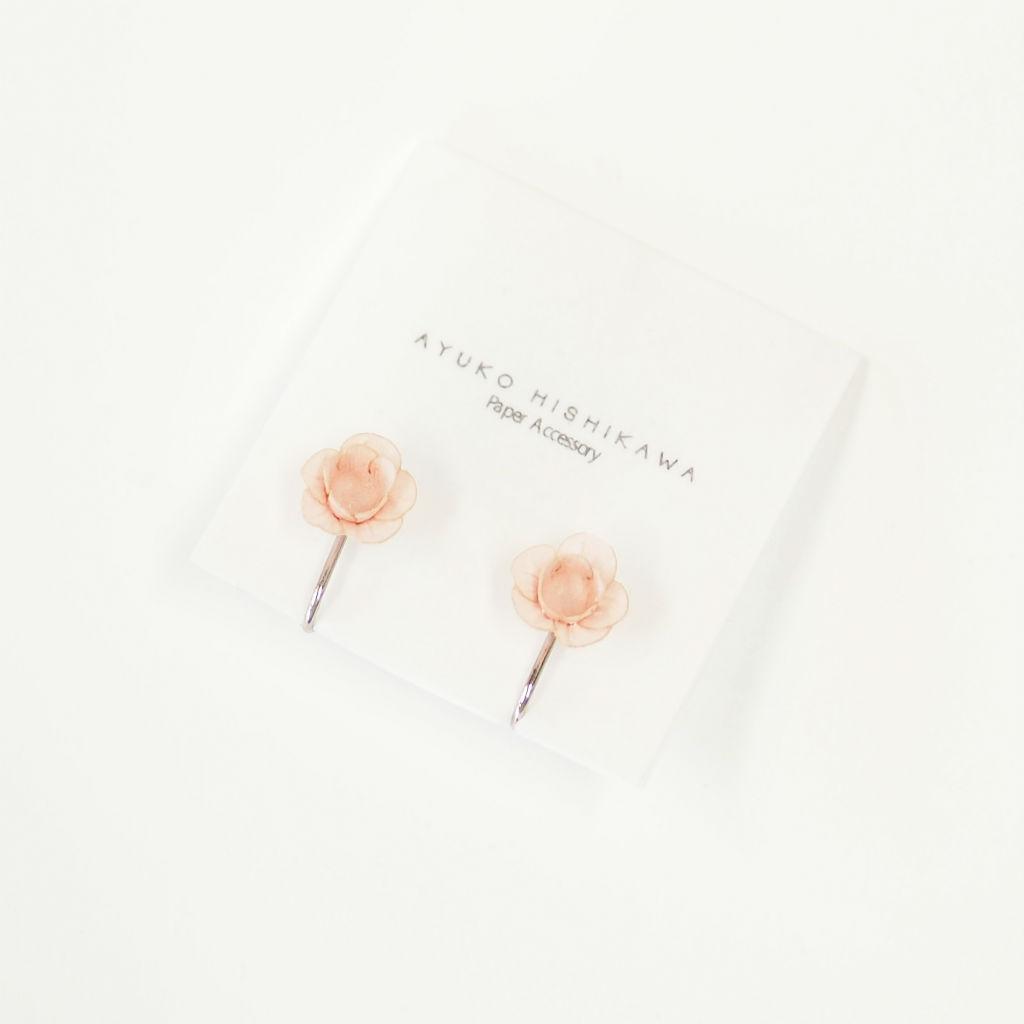 サムネイル:fuji ひと粒ペア イヤリング / ピアス ピンク(ペア)AYUKO HISHIKAWA Paper Accessory