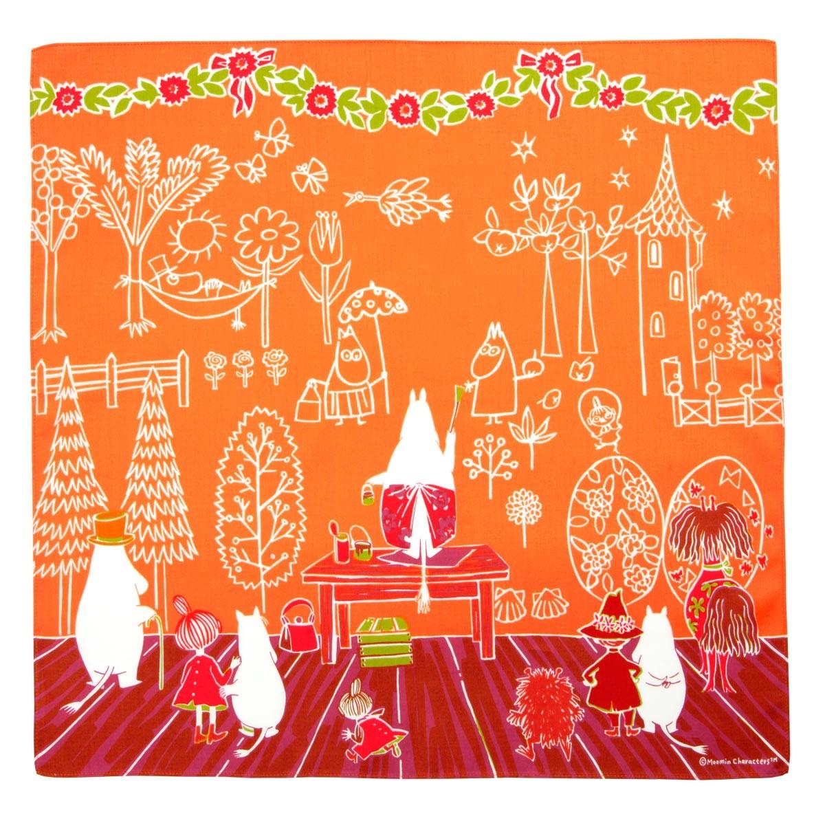 サムネイル:ハンカチ ママの壁紙 オレンジ MOOMIN ムーミン