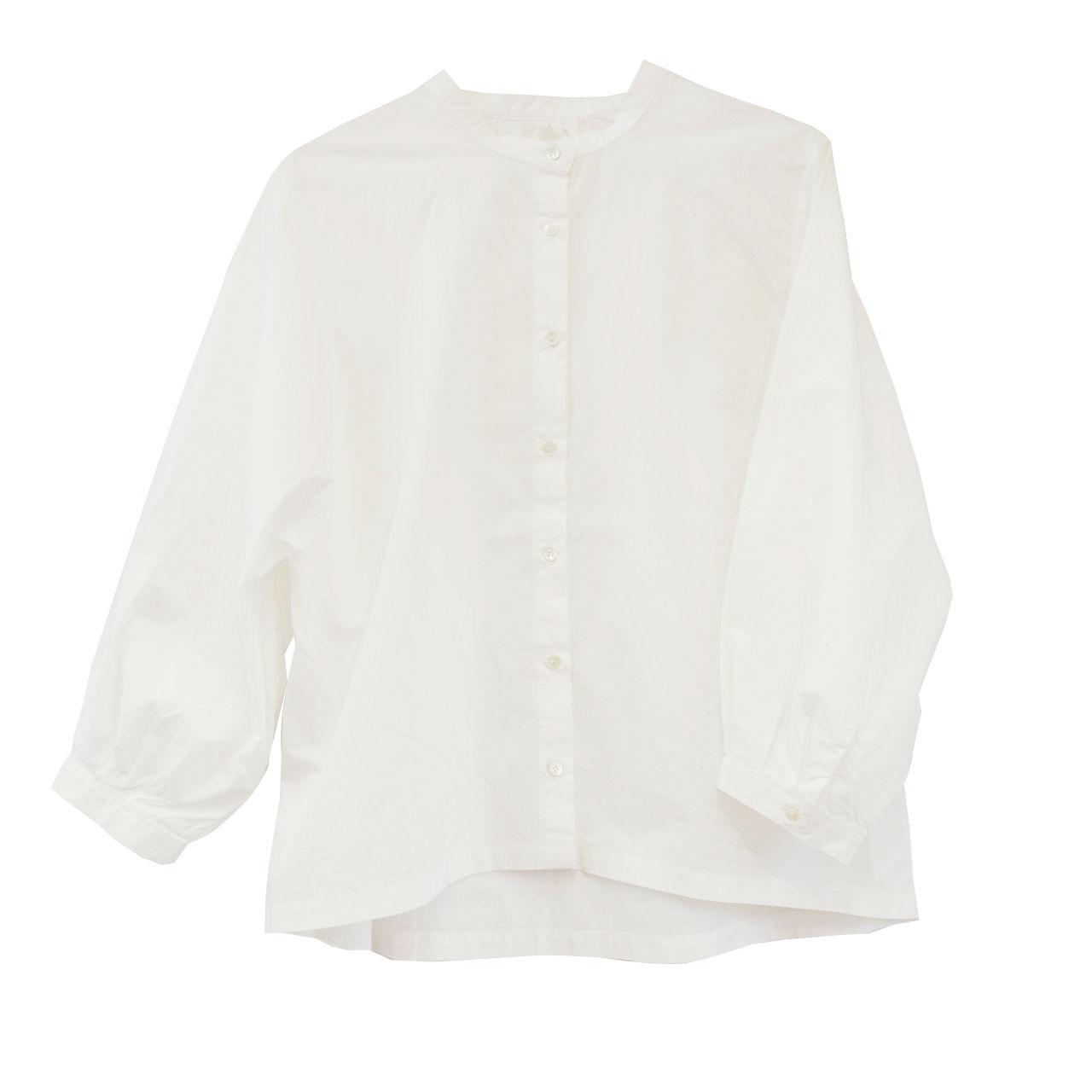 ノーカラータイプライターシャツ ホワイト
