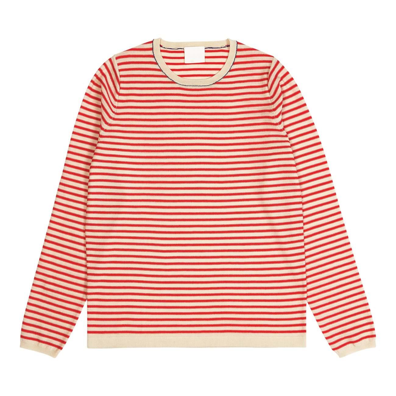 サムネイル:FUB WOMEN Striped Blouse, ecru/red