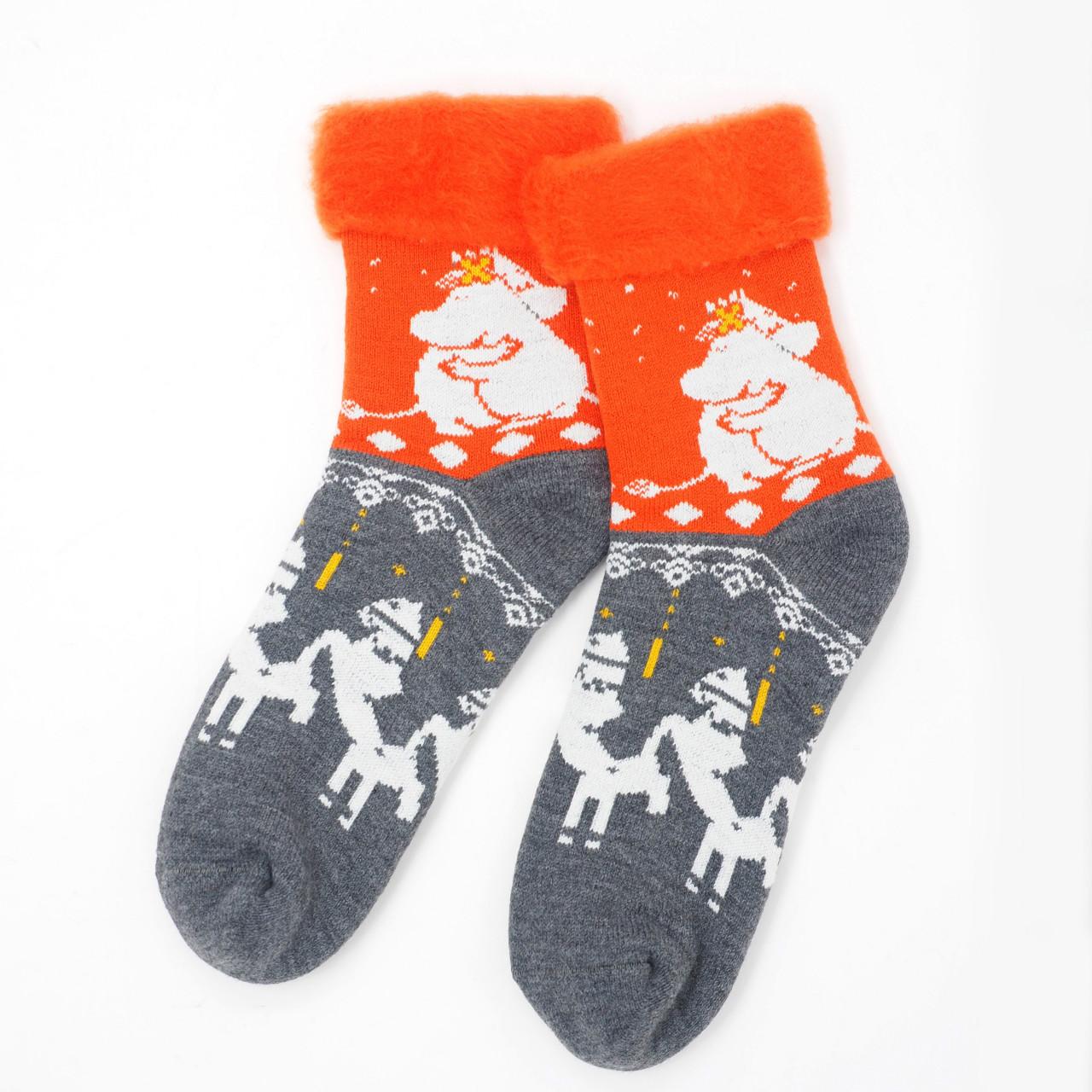 【11月2日より順次出荷】MOOMIN(フィンランド製モコモコソックス)huvipuisto フビプイスト メリーゴーランド オレンジ